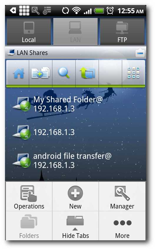 Schermata per trasferire file da Android al PC