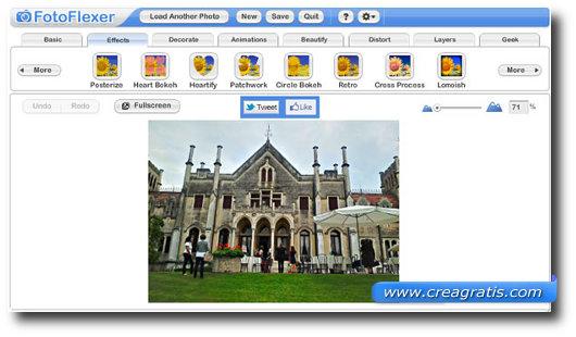 Immagine del sito FotoFlexer per modificare foto online