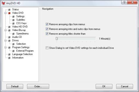 Interfaccia grafica del programma AnyDVD HD