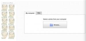 Interfaccia del sito FaceBenderApp per deformare foto
