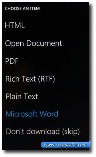 Scelta del formato del documento da scaricare