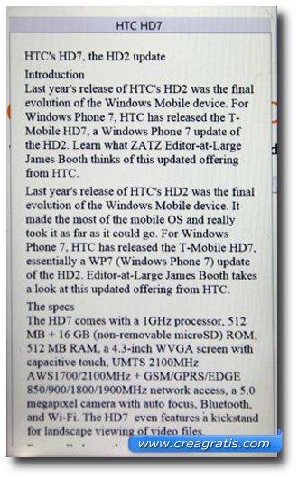 Esempio di un documento aperto con GDocs