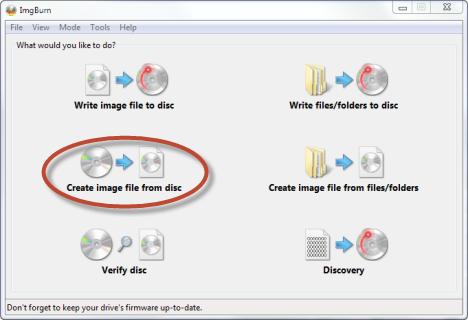 Interfaccia grafica del programma ImgBurn