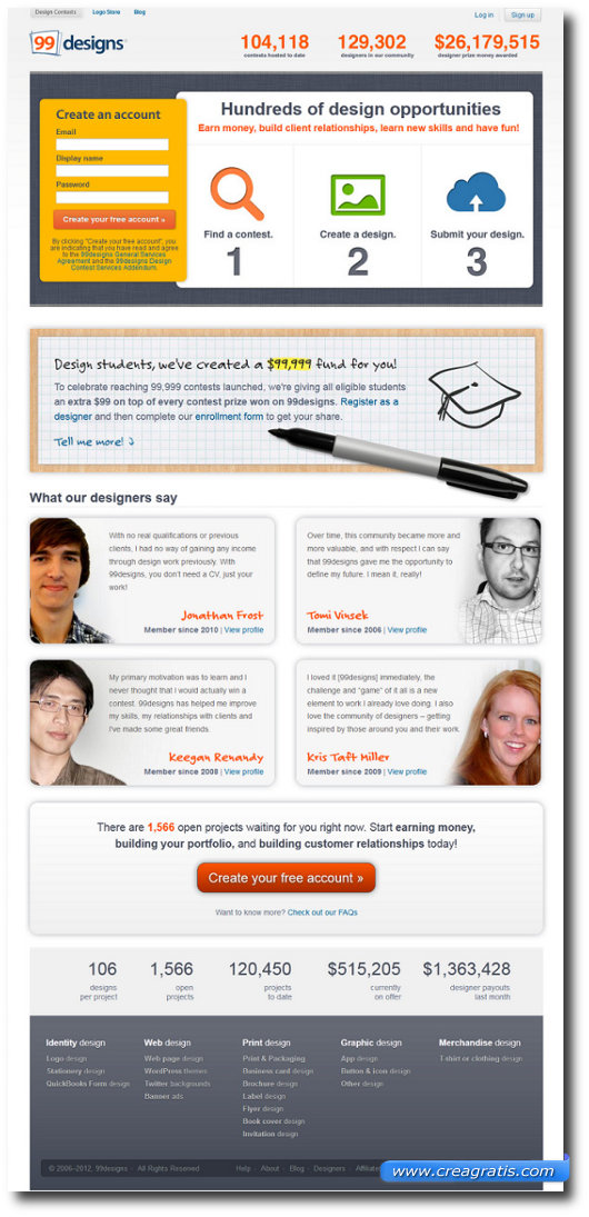 Landing Page del sito 99Designs
