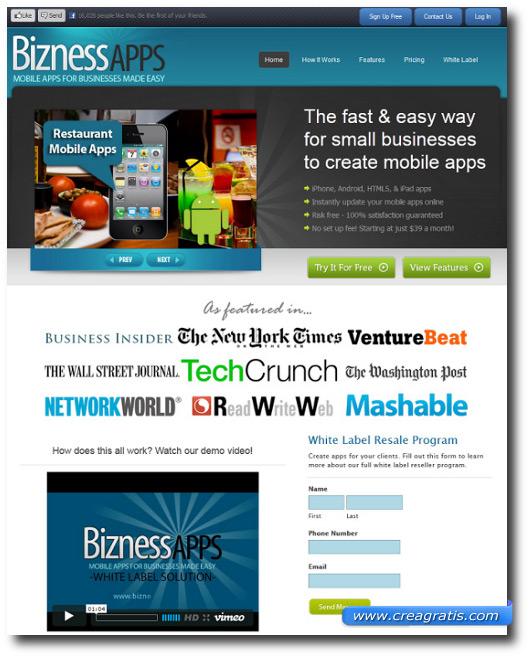 Landing Page del sito BiznessApps