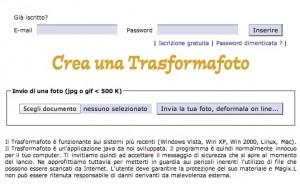 Interfaccia del sito Magixl per deformare foto