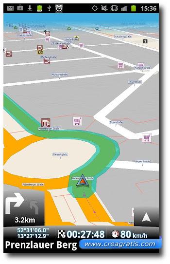 Interfaccia grafica del navigatore Map Factor Navigator
