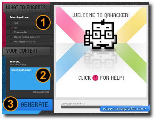 Immagine del sito QRHacker per creare codici QR colorati