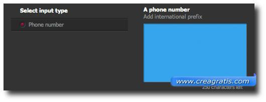 Schermata per l'inserimento del numero di telefono nel codice QR