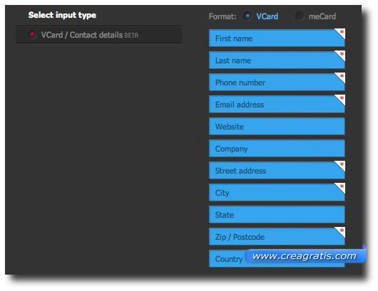Schermata per l'inserimento della VCard nel codice QR