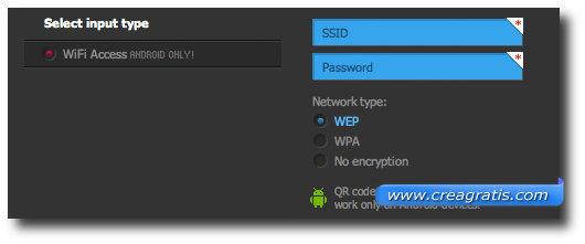 Schermata per l'inserimento della rete WiFi nel codice QR