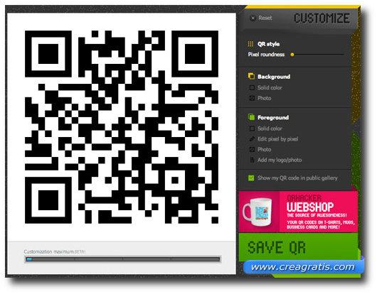 Schermata per la personalizzazione del codice QR
