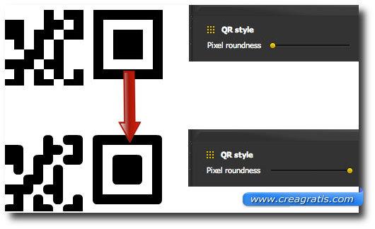 Schermata per l'arrotondamento degli spigoli del codice QR