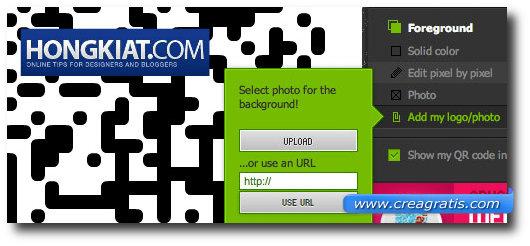 Schermata per l'inserimento di una foto sullo sfondo del codice QR