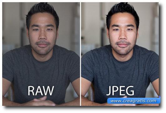 Foto di esempio che mostra la differenza tra il formato RAW e il JPEG
