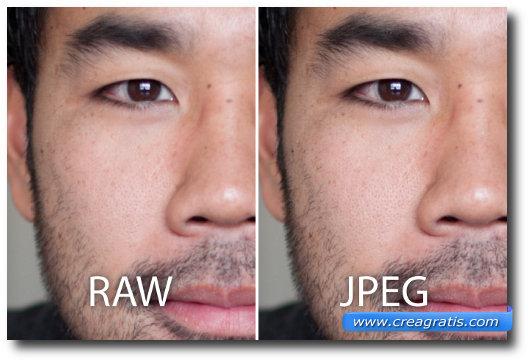 Immagine di confronto tra RAW e JPEG