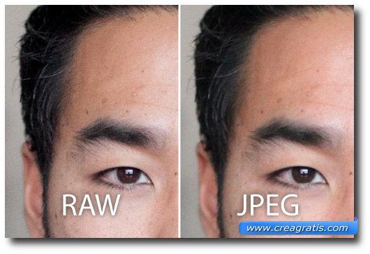 Immagine di paragone tra il formato RAW e il JPEG