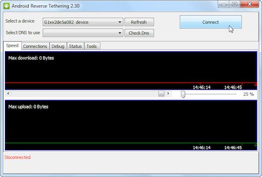 Interfaccia grafica dell'applicazione Android Reverse Tethering
