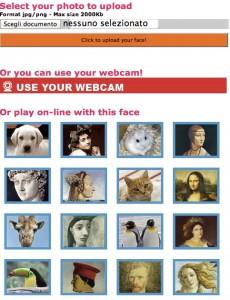 Interfaccia del sito StretchYourFace per deformare foto