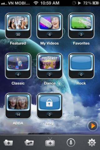 Le cartelle dell'app per organizzare i video scaricati