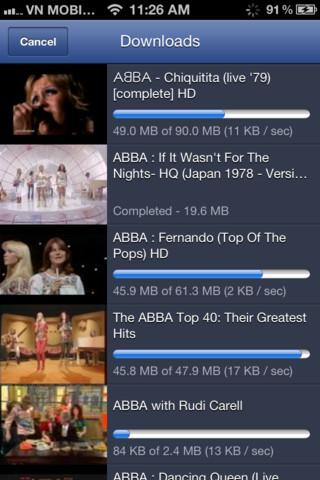 Interfaccia dell'applicazione TubePad per iPhone e iPad