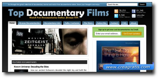 Immagine del sito Top Documentary Films