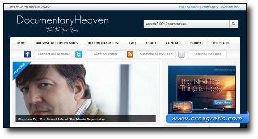 Immagine del sito Documentary Heaven