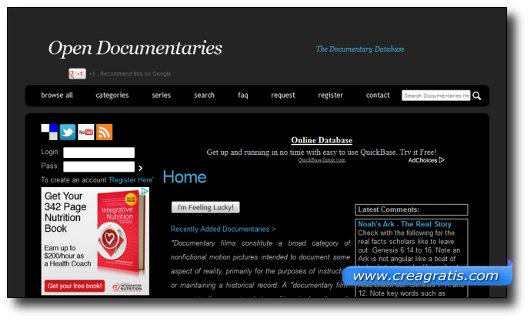 Immagine del sito Open Documentaries