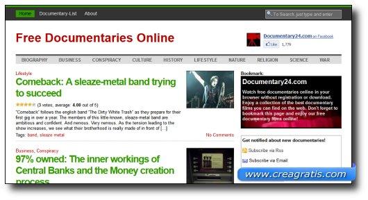 Immagine del sito Documentary24.com
