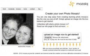 Immagine del sito Mozaiq per creare mosaici