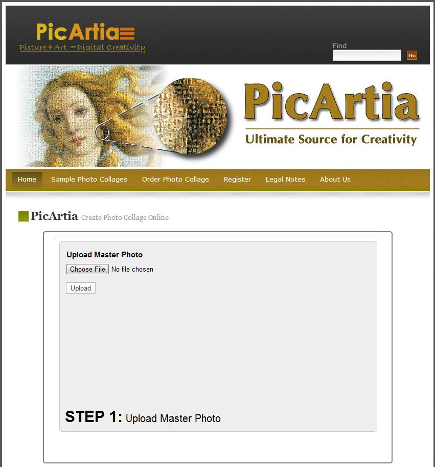 Immagine del sito Picartia per creare mosaici