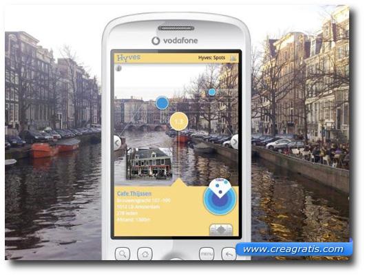 Immagine di uno smartphone che usa la realtà aumentata