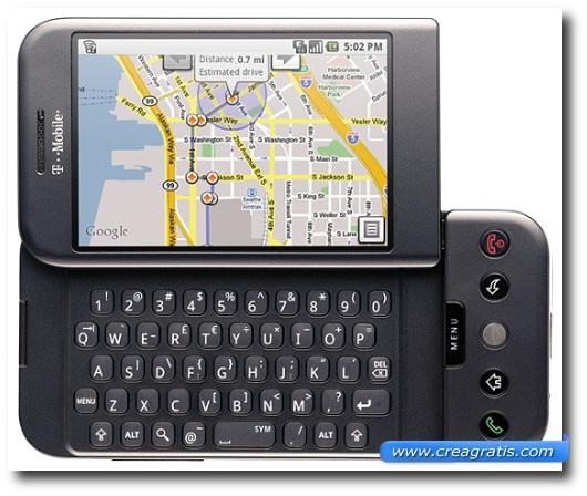 Immagine di uno smartphone HTC G1 del 2008