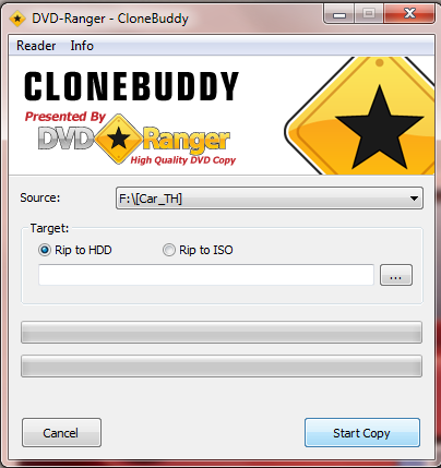 Interfaccia grafica del software CloneBuddy