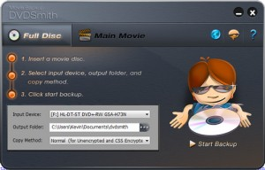 Interfaccia grafica del software DVDSmith