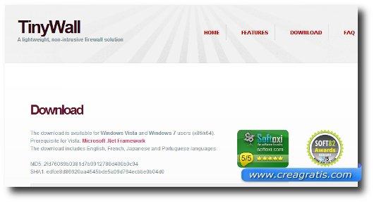 Immagine del firewall TinyWall