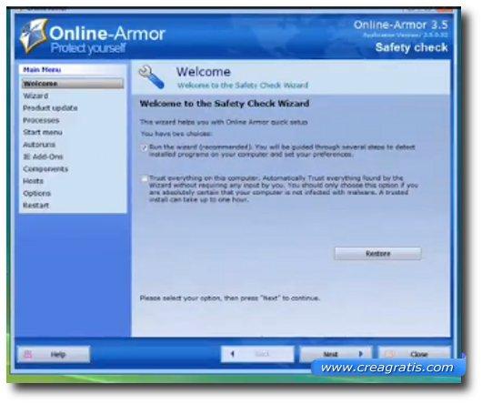 Immagine del firewall Online Armor Free