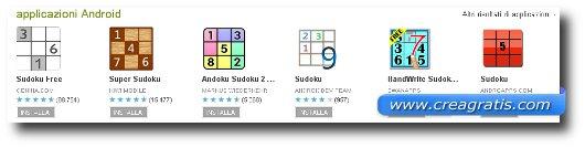 Lista di applicazioni Android per giocare a Sudoku