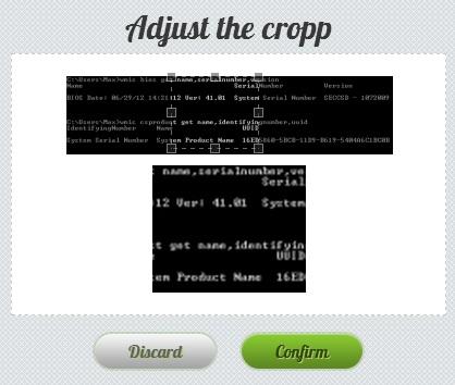 Schermata del servizio per tagliare immagini online