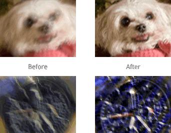 Immagine di confronto tra prima e dopo la sfocatura