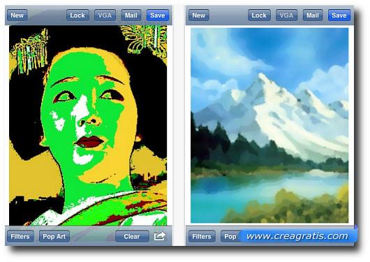 Interfaccia di un'applicazione per applicare effetti speciali alle foto