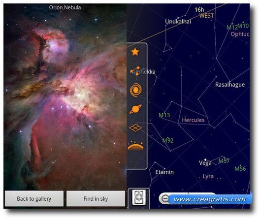 Immagine dell'applicazione Google Sky Map