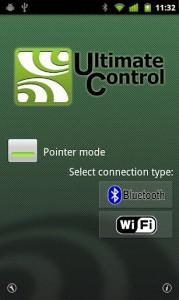 Interfaccia grafica dell'app Ultimate Control