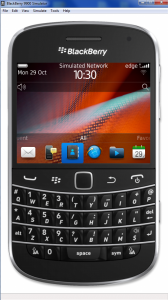 Interfaccia grafica dell'emulatore BlackBerry per PC