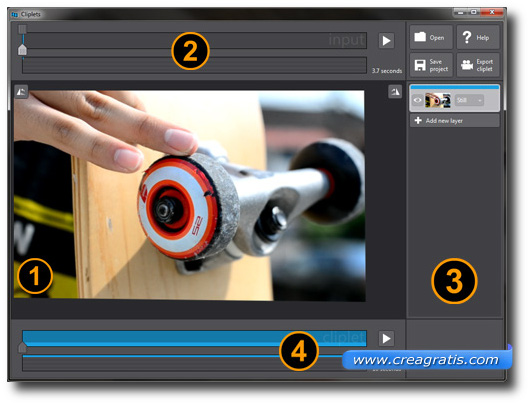 Interfaccia del programma Cliplets per creare cinemagraph