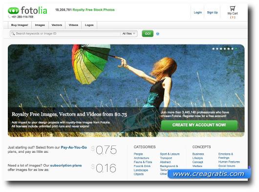 Immagine del sito Fotolia dove vendere le vostre foto