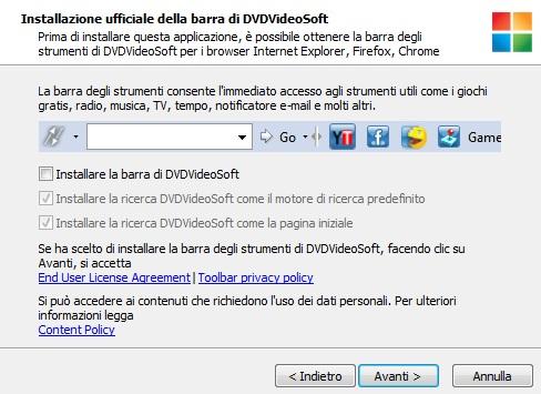 Installazione della barra di DVDVideoSoft