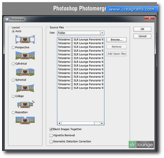 Schermata della funzione Photomerge di Photoshop