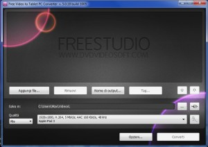 Interfaccia grafica di Free Video to Tablet PC Converter