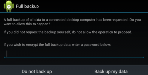 Schermata di backup di Android